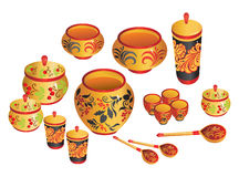 Russian painted ware. Russian  tradition art with painted Royalty Free Stock Images