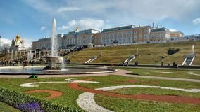 Russian palaces, fountains and parks. The complex of fountains in the Royal mansion Royalty Free Stock Photography