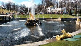 Russian palaces, fountains and parks. The complex of fountains in the Royal mansion Royalty Free Stock Images