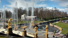 Russian palaces, fountains and parks. The complex of fountains in the Royal mansion Stock Photos