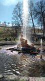 Russian palaces, fountains and parks. The complex of fountains in the Royal mansion Stock Photo