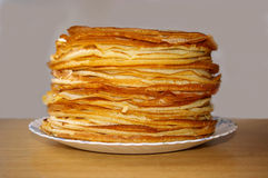Russian pancakes. A lot of Russian pancakes at the table Stock Images