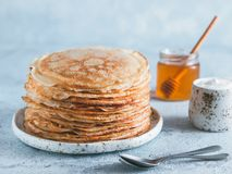 Russian pancakes blini with copy space stock images