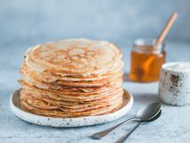 Russian pancakes blini with copy space stock photos