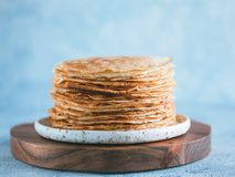 Russian pancakes blini with copy space stock image