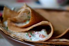 Russian pancakes with caviar Stock Photos