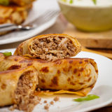 Russian Pancakes with Meat Royalty Free Stock Photography