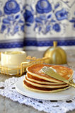Russian pancakes (oladi) Stock Photo