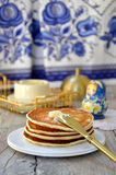 Russian pancakes (oladi) Stock Photography