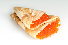 Russian pancakes. With red caviar Royalty Free Stock Photography