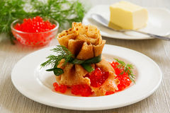 Russian pancakes with red caviar. Stock Images