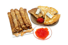 Russian pancakes and red caviar on a white background Stock Photos