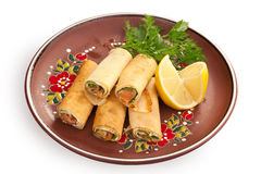 Russian pancakes with salmon Stock Image