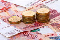 Russian paper money and coins Stock Photography