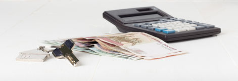 Russian paper money house keys calculator Royalty Free Stock Photos