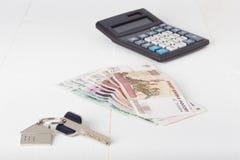 Russian paper money house keys calculator Stock Photography