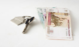 Russian paper money house keys Stock Photography