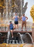 Russian paratroopers demobilized standing on fountain constructi Stock Images
