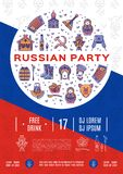 Russian party poster Music flyer A4 size. Colorful russian icons, Flag background, Flat symbols. Balalaika, matryoshka doll, drink and food, vodka, samovar Royalty Free Stock Images
