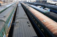 Russian passenger trains. A bunch of passenger trains on a Russian railway station Stock Photography