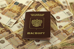 Russian passport on a background of money royalty free stock photography