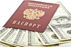 Russian passport with $100 banknotes Royalty Free Stock Photos