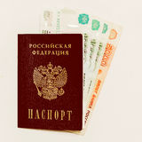 Russian passport and cash on whine Stock Image