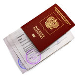 Russian passport of the citizen with certificates Royalty Free Stock Images