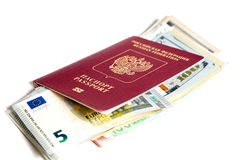 Russian passport and currency Royalty Free Stock Photos