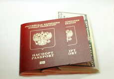 Russian Passport And Dollars USA Isolated On White Background Stock Images