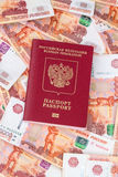 Russian passport for foreign countries  and 5000 rubles Stock Photo