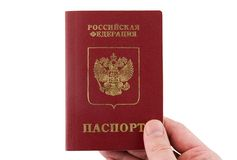The russian Passport hold in hand. Stock Photography