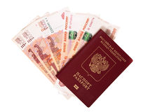 The Russian passport lies on a pile of notes (rubles) Royalty Free Stock Photography