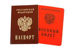 Russian passport and Military ID. On white background Royalty Free Stock Photography