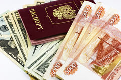 Russian passport and money Stock Photography