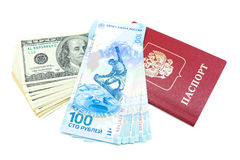 Russian passport and money on a white background Stock Photo