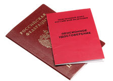 Russian passport and pension certificate Stock Photography
