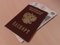 Russian Passport and Russian Money Royalty Free Stock Images