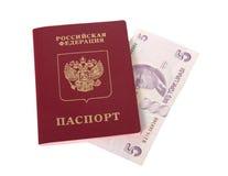 Russian passport and Turkish liras Stock Photo
