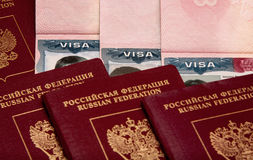 Russian passport Visas v3. Mandatory visas for Russian people Royalty Free Stock Photo