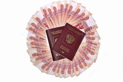 Russian passports in the background banknotes five thousand rubles Royalty Free Stock Photography