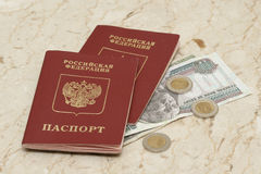 Russian passports and Egyptian money Royalty Free Stock Images