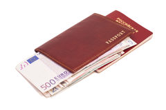 Russian passports and Euro money Stock Photos