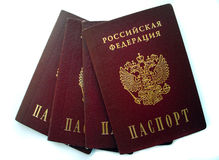 Russian passports isolated Stock Photo