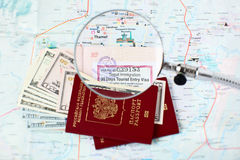 Russian passports and Kathmandu city map Royalty Free Stock Photos