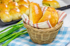 Russian pastries filled with eggs and green onion Stock Photos