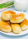 Russian pastries filled with eggs and green onion Royalty Free Stock Photos