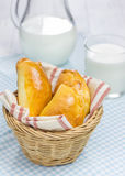 Russian pastries (pirogi) filled with eggs and green onion. Closeup Royalty Free Stock Photos