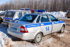Russian patrol cars of the State Automobile Inspectorate in wint Royalty Free Stock Images