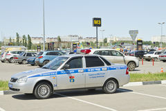Russian patrol police car. VOLGOGRAD - JUNE 6: Patrol police car parked in the Parking lot in violation of the rules. June 6, 2015 in Volgograd, Russia Stock Image